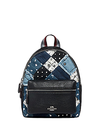 Coach Mini Charlie Backpack With Americana Patchwork