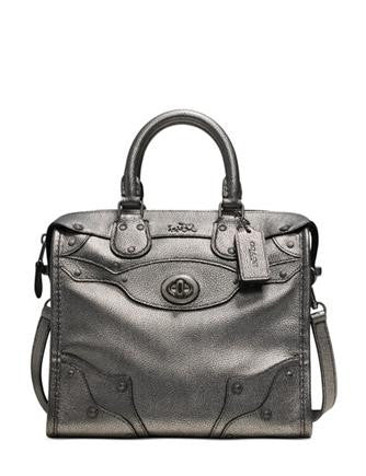 Coach Mini Rhyder 33 Satchel In Metallic Pebble Leather