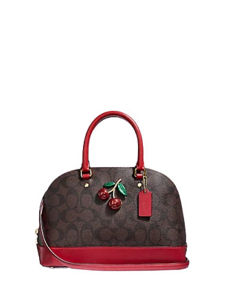 Coach Mini Sierra Satchel in Signature Canvas with Cherry