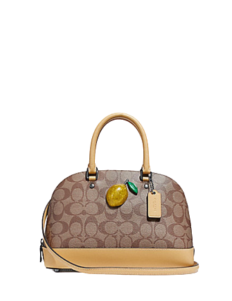 Coach Mini Sierra Satchel in Signature Canvas with Lemon