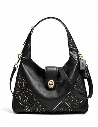 Coach Mini Studs Rhyder Hobo in Leather