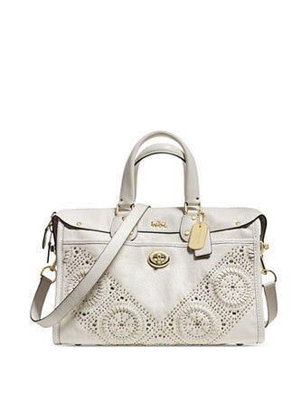 Coach Mini Studs Rhyder Satchel In Perforated Leather