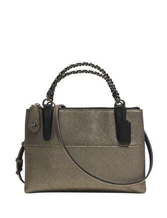 Coach Mini Metallic Leather Turnlock Borough Bag With Chain