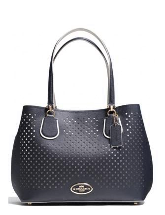 Coach Kitt Perforated Leather Carryall Shoulder Bag