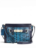 Coach Swagger Wristlet Colorblock Exotic Embossed Leather
