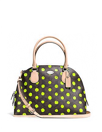 Coach Neon Dot Cora Signature Canvas Dome Zip Satchel