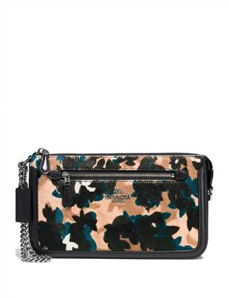 Coach Nolita 24 Leaf Print Haircalf Chain Wristlet