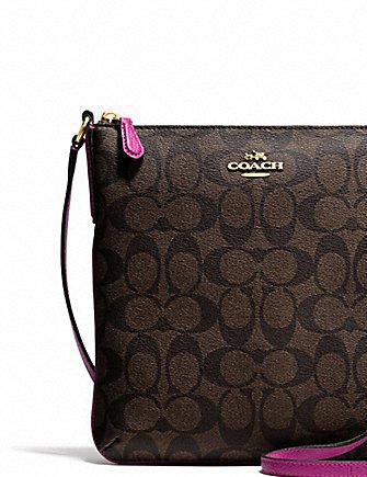 Coach North South Crossbody In Signature Coated Canvas