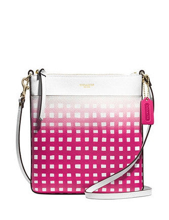 Coach North South Swingpack in Gingham Saffiano Leather