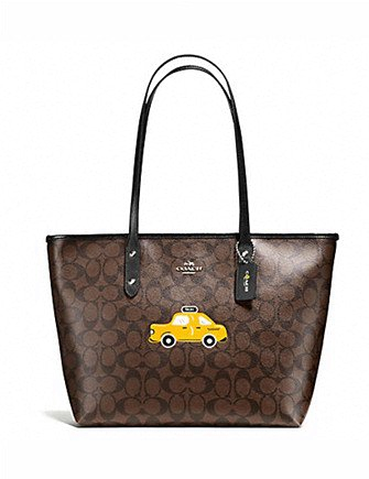 Coach NYC Taxi City Signature Zip Top Tote