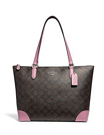 Coach Outline Signature Zip Coated Canvas Tote