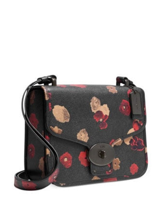 Coach Page Flap Front Shoulder Bag In Floral Print Leather
