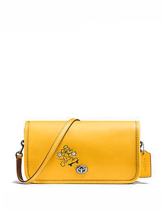 Coach Penny Crossbody in Glove Calf Leather With Mickey