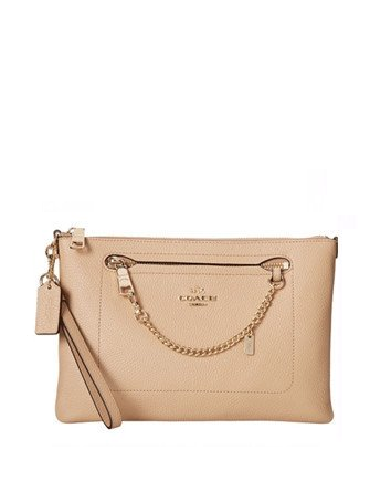 Coach Prairie Chain Wristlet in Pebble Leather