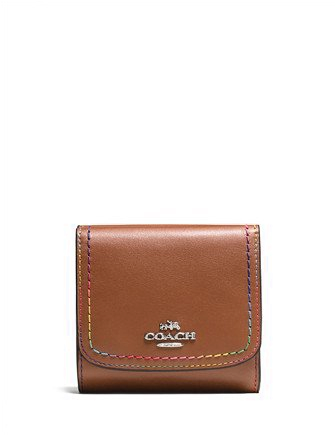Coach Rainbow Stitch Trifold Small Snap Wallet