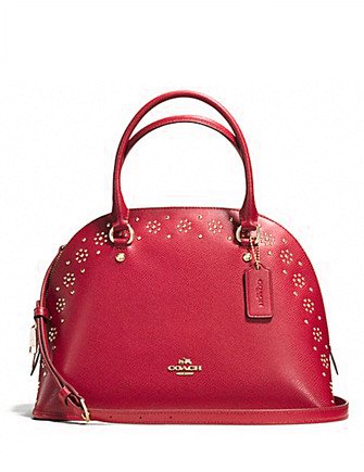 Coach Border Stud Cora Domed Satchel in Crossgrain Leather