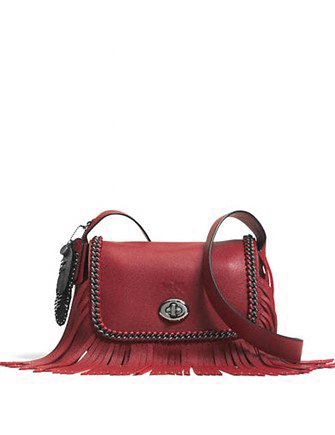 Coach Small Dakotah Fringe Leather Flap Crossbody