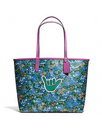 Coach Reversible City Tote In Rose Meadow Print