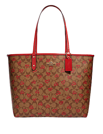 Coach Reversible City Tote in Signature Canvas With Crayon Heart Print