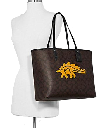 Coach Reversible City Tote in Signature Canvas With Dinosaur Motif