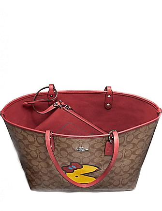 Coach Reversible City Tote in Signature Canvas with Ms Pac Man