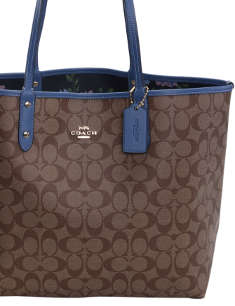 Coach Reversible City Tote in Signature Canvas With Peony Print