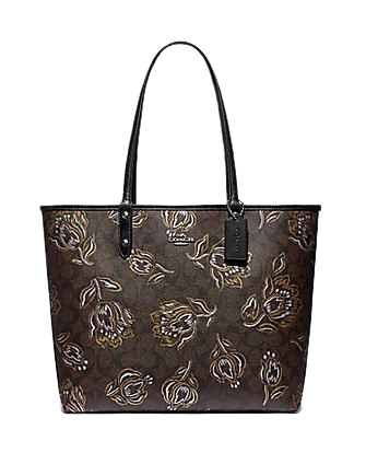 Coach Reversible City Tote in Signature Canvas With Tulip Motif