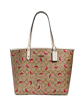 Coach Reversible City Tote In Signature Canvas With Watermelon Print