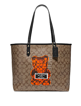Coach Reversible City Tote In Signature Canvas Vandal Gummy Bear