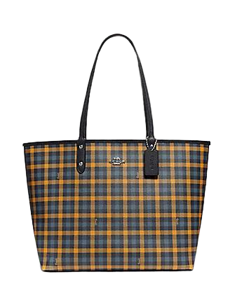 Coach Reversible City Tote With Gingham Print