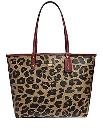 Coach Reversible City Tote With Leopard Print