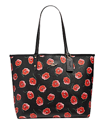 Coach Reversible City Tote With Poppy Print