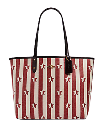 Coach Reversible City Tote With Stripe Star Print