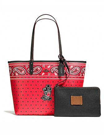 Coach Reversible Tote in Prairie Bandana Print With Mickey
