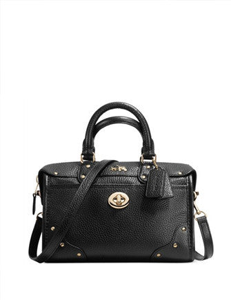Coach Rhyder 24 Zip Top Satchel in Pebble Leather