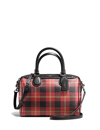 Coach Riley Plaid Mini Bennett Satchel