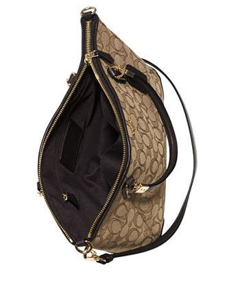 Coach Signature Jacquard Small Kelsey Zip Top Satchel