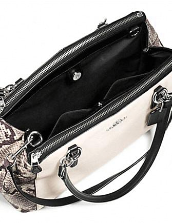 Coach Small Christie Carryall With Snake Embossed Leather Trim