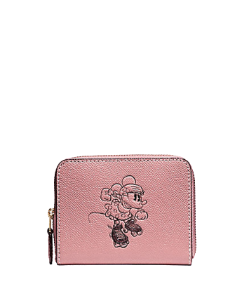 Coach Small Zip Around Wallet With Minnie Mouse Motif