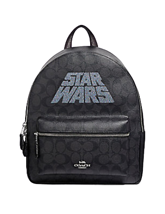 Coach Star Wars X Medium Charlie Backpack in Signature Canvas With Glitter Logo