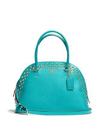 Coach Studded Crossgrain Cora Domed Satchel