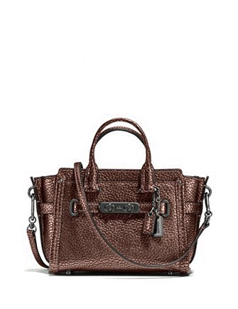 Coach Swagger 15 in Metallic Pebble Leather