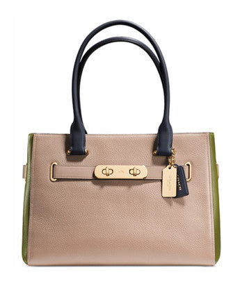 Coach Swagger Carryall Shoulder Bag in Colorblock Pebble Leather