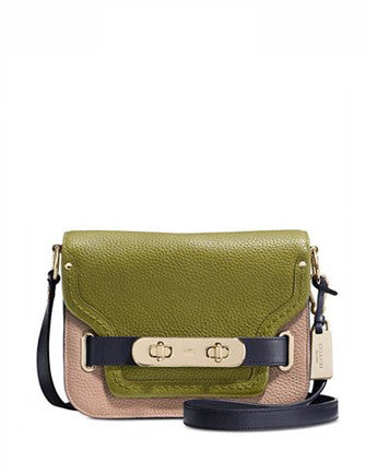 Coach Swagger Small Shoulder Bag in Colorblock Pebble Leather