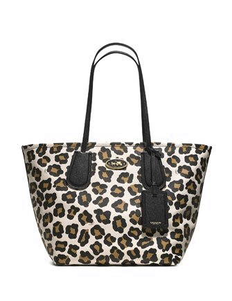 Coach Large Taxi Shopper Tote in Ocelot Print Leather