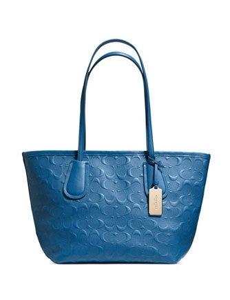 Coach Taxi Zip Shoulder Tote 24 in Logo Embossed Leather