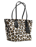 Coach Taxi Zip Top Tote In Ocelot Print Leather