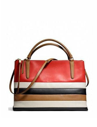 Coach The Large Borough Satchel Bag in Bar Stripe Leather