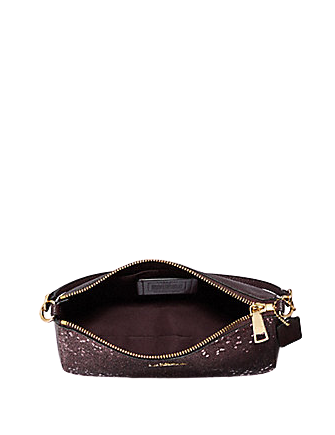 Coach Top Handle Pouch With Heart Glitter