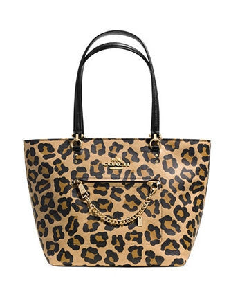 Coach Town Car Tote In Ocelot Print Crossgrain Leather